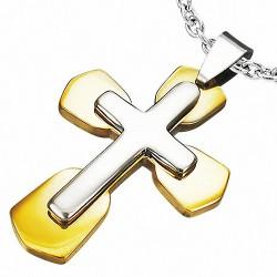 Pendentif homme croix double dorée