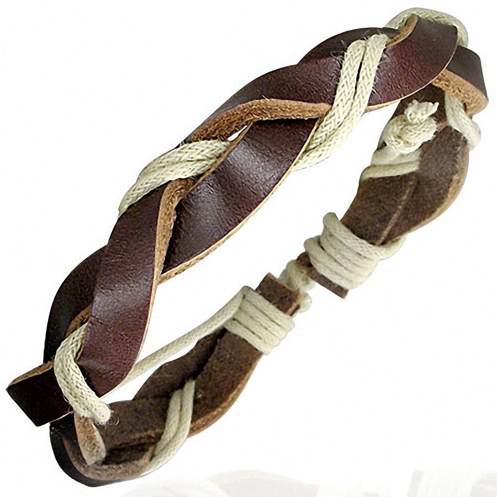 Bracelet homme cuir marron et beige