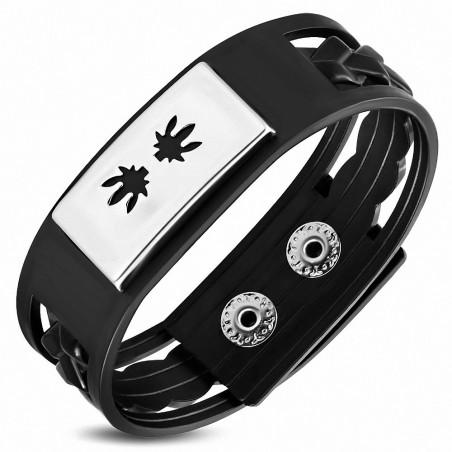 Bracelet homme caoutchouc noir plaque cannabis