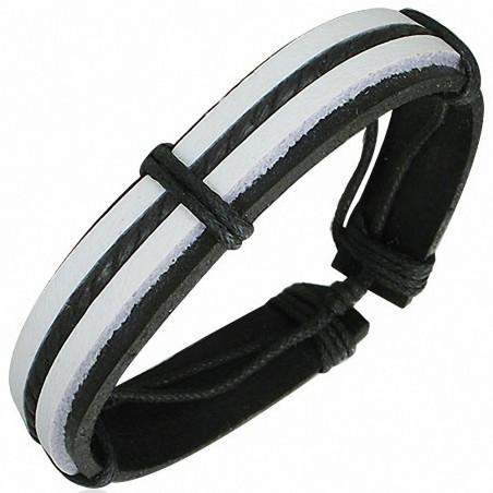 Bracelet homme cuir noir & blanc