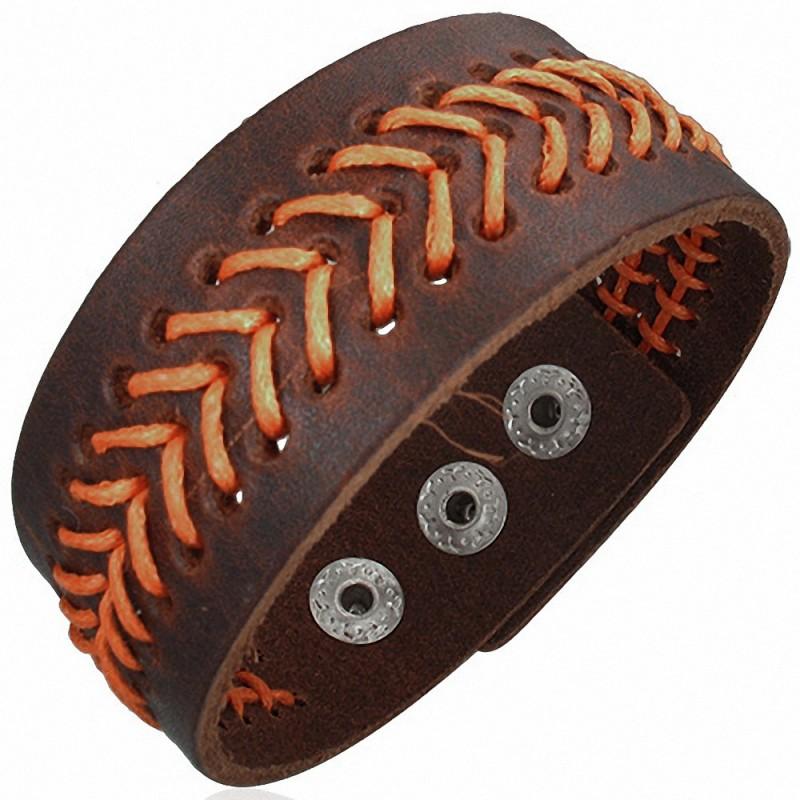 Bracelet homme cuir marron orange vagues