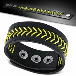 Bracelet homme cuir noir jaune vagues
