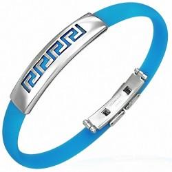Bracelet homme caoutchouc bleu labyrinthe clef grecque