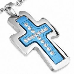 Pendentif homme double croix bleue