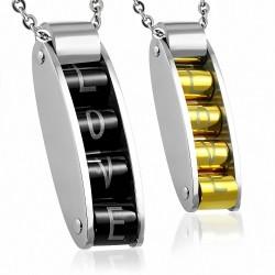 Pendentif couple 4 cylindres love noir doré