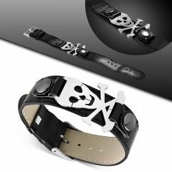Bracelet homme ceinture crâne pirate noir