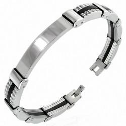 Bracelet homme plaque acier et caoutchouc noir