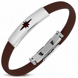 Bracelet homme caoutchouc marron étoile brillante