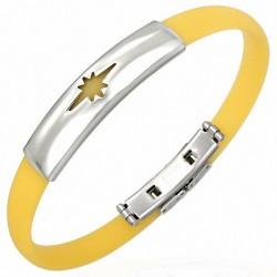 Bracelet homme caoutchouc jaune étoile brillante