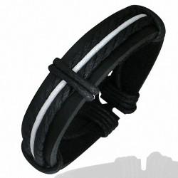 Bracelet homme fantaisie cuir noir et blanc