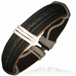 Bracelet homme cuir brins tressés marron