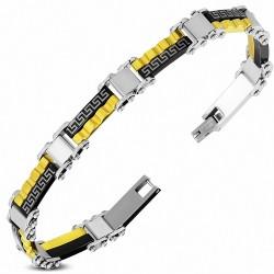 Bracelet homme acier clef grecque doré