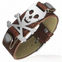 Bracelet homme ceinture crâne de pirate marron