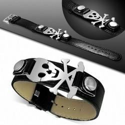 Bracelet homme ceinture crâne de pirate noir