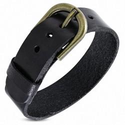Bracelet cuir homme ceinture boucle dorée