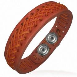 Bracelet homme cuir tissage croisé abricot