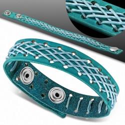 Bracelet homme cuir tissage croisé turquoise
