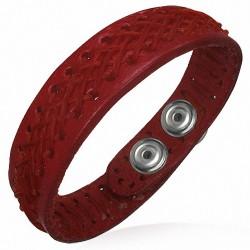 Bracelet homme cuir tissage croisé rouge