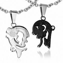 Pendentif couple coeur trèfle argenté noir