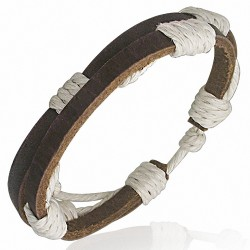 Bracelet homme cuir double fin brun