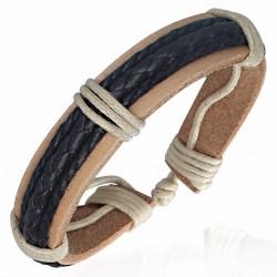 Bracelet homme cuir brun triple corde noire