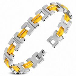 Bracelet homme acier mat et caoutchouc jaune foncé