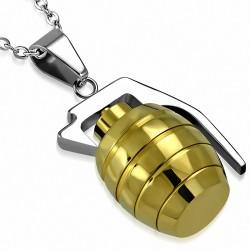 Pendentif homme grenade argentée et dorée