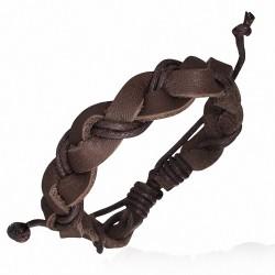 Bracelet homme cuir et corde marron tressé