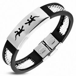 Bracelet homme acier et caoutchouc lézards