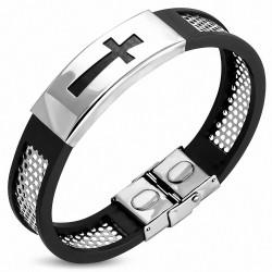 Bracelet homme acier et caoutchouc croix latine