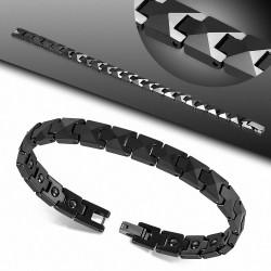 Bracelet homme céramique noire pyramide
