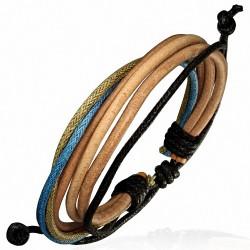 Bracelet homme cuir clair et corde beige bleue noire