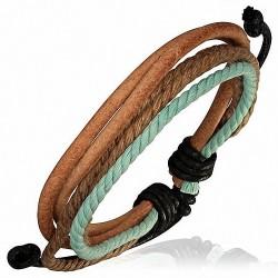 Bracelet cuir brut corde bleu et marron