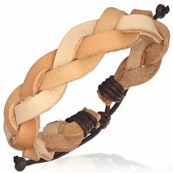 Bracelet cuir tressé 3 tons