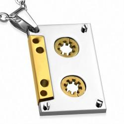 Pendentif homme cassette audio argentée/dorée