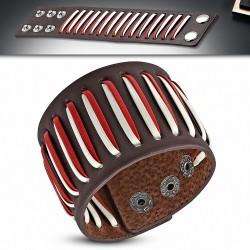 Bracelet homme cuir marron bandes blanc et rouge