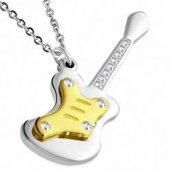 Pendentif homme guitare électrique argentée et dorée