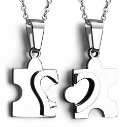 Pendentif couple puzzle cœur deux parties