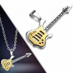 Pendentif homme guitare électrique doré
