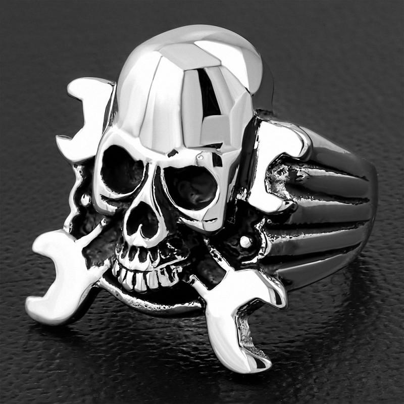 Bague homme acier clef à écrous skull biker
