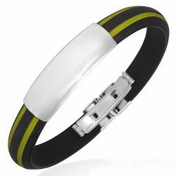 Bracelet homme caoutchouc noir et jaune avec plaque acier