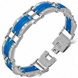 Bracelet homme bicolore en acier et caoutchouc bleu
