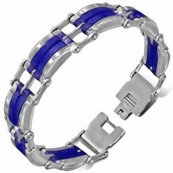 Bracelet homme bicolore en acier et caoutchouc bleu royal