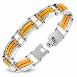 Bracelet homme bicolore en acier et caoutchouc orange