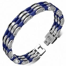 Bracelet homme triple acier et caoutchouc bleu royal