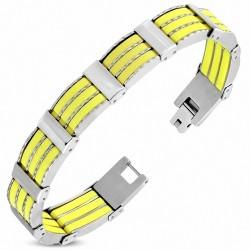 Bracelet pour homme acier et caoutchouc jaune