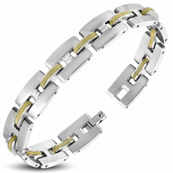 Bracelet pour homme acier et caoutchouc orange liens en H