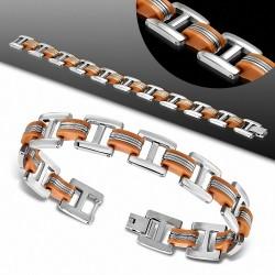 Bracelet homme acier et caoutchouc orange liens en forme de H