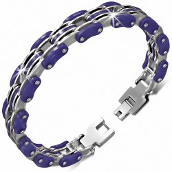 Bracelet homme acier argenté et caoutchouc violet