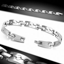 Bracelet homme acier tête de vis maille panthère